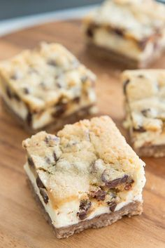 Chocolate Chip Cookie Dough Cheesecake Bars - Amber's review: made 6/14/17, followed recipe as directed but baked for 40 minutes total. Turned out excellent,    Very rich!