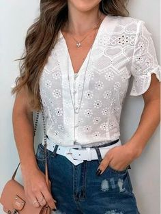 28 Lace Blouses For Work - Luxe Fashion New TrendsLuxe Fashion New Trends - Page 11 of 2665 - Luxe Casual Style, Latest Fashion Trends Modest Fashion, Fashion Dresses, Work Fashion, Sewing Blouses, Lace Blouses, Inspiration Mode, Work Blouse, Elegant Outfit, Lace Tops