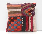 patchwork pillow case moroccan cushion ethnic cushion cover throw pillow cases art pillow cover floor cushion cover red kilim pillow 16752