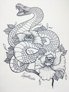 36 Best Snake And Flower Tattoo Designs & Meanings Flower Tattoo Drawings, Snake And Flowers Tattoo, Flower Tattoo Designs, Small Flower Tattoos, Small Tattoos, Snake Tattoo, Band Tattoos, Line Art Tattoos, Body Art Tattoos