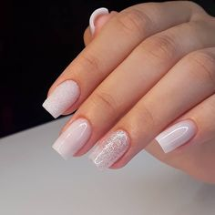 42 Trendy Wedding Manicure Ideas Classy French Tips Classy Nails, Stylish Nails, Trendy Nails, Bridal Nails, Wedding Nails, Cute Acrylic Nails, Cute Nails, Blush Pink Nails, White Sparkle Nails