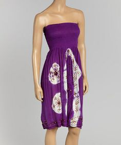 Love this Purple & White Abstract Strapless Dress by California Women on #zulily! #zulilyfinds