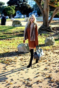 Thanksgiving Style | Over the knee boots | Faux Fur Vest | She Said He Said Fashion Blog