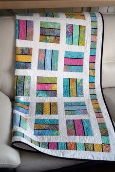 """This lap quilt is made of high quality cotton in order to offer you a one of a kind product that will embellish your comfort for years to come. The # scrappy patchwork quilts For CUSTOM ORDER ONLY, Throw quilt """" Ici et Là """" Big Block Quilts, Lap Quilts, Strip Quilts, Scrappy Quilts, Quilt Blocks, Panel Quilts, Patchwork Quilting, Batik Quilts, Jellyroll Quilts"""