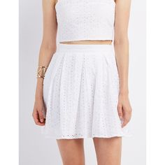 Charlotte Russe Eyelet Pleated Skater Skirt ($28) ❤ liked on Polyvore featuring skirts, white, flared skirt, white skirt, box pleat skirt, pleated circle skirt and white pleated skirt