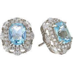 Nina Dries Earrings (Palladium/Light Blue Topaz/White CZ) Earring (£77) ❤ liked on Polyvore featuring jewelry, earrings, topaz jewelry, multi color earrings, nina earrings, tri color earrings and multicolor earrings