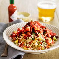 Garden Rice and Red Beans  - Hot pepper sauce and fire roasted tomatoes spice up a vegetarian rice and beans.