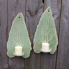 Handbuilt Tall Leaf Clay Pottery Wall Hanging Candle Sconces Holders in Light Green Celadon set of 2 32 00 via Etsy Hand Built Pottery, Slab Pottery, Ceramic Pottery, Hanging Candles, Candle Sconces, Diy Candles, Candle Wax, Diy Clay, Clay Crafts