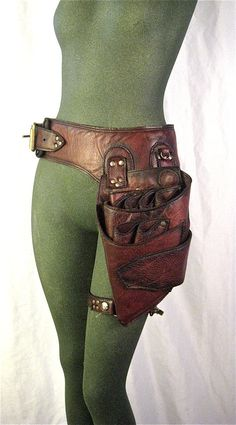 holster belt with leg strap high quality, ox blood hand painted leather
