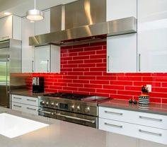 Kitchen Backsplash Red red kitchen backsplash | red tile backsplash adds zing to this