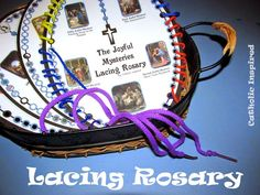 Lacing Rosary for Children - Keep Kids Content While You Pray - Create – Catholic Inspired Catholic Crafts, Catholic Kids, Catholic School, Catholic Homeschooling, Rosary Catholic, Teaching Religion, Catholic Religion, Religious Education, Bible Crafts