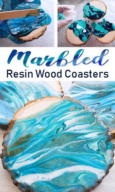 Make these beautifully marbled wood coasters by pouring tinted resin. See the easy DIY Tutorial on the Resin Crafts Blog! #resin #resinproject #marble via @resincraftsblog