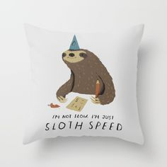 sloth speed Throw Pillow