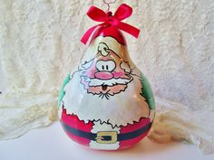 Santa Claus Gourd Handmade Lg Round Fat by NaturesUniqueBotique