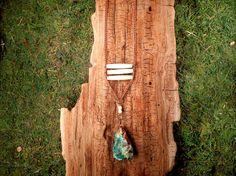 Buffalo Bone and Rough Chrysocolla Pendant by mirabiliajewelry, $40.00