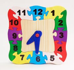 Educational Wooden Clock Puzzle Handmade Puzzles by RikmaProducts
