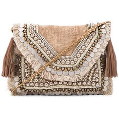 SHASHI Leela Clutch ($88) ❤ liked on Polyvore featuring bags, handbags, clutches, sac, purses, beaded purse, fringe clutches, woven handbags, fringe purse and fringe handbags