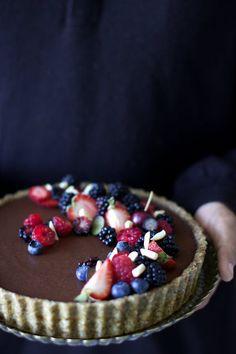 Dark Chocolate Tart with Almond Crust and Berries