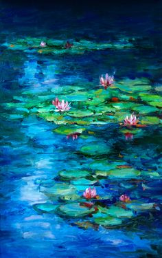 Water Lilies by jingyuzhang on DeviantArt Water Lilies Painting, Pond Painting, Lotus Painting, Lily Painting, Oil Painting Flowers, Acrilic Paintings, Acrylic Painting Techniques, Guache, Beginner Painting