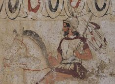 Return of the warrior. Detail. Fresco on the inside side of sarcophagus slab from a Lucanian Tomb. Second half of the 4th century BCE. Paestum, National Archaeological Museum. (Photo by I. Sh.).