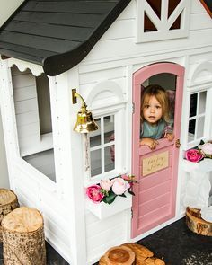 If you are planning to build a playhouse for your kids, then there are steps that you have to take in order to be successful in constructing a playhouse. Outside Playhouse, Girls Playhouse, Backyard Playhouse, Build A Playhouse, Backyard Playground, Backyard For Kids, Painted Playhouse, Toddler Playhouse, Cubby Houses