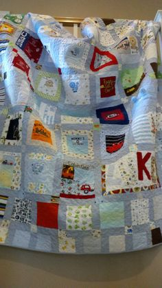 Baby Clothes Memory Quilt Blanket  Deposit by plumcozycottage, $50.00