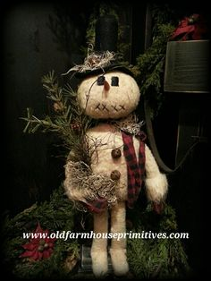 Primitive Standing Snowman Holding Tree (Made In USA)