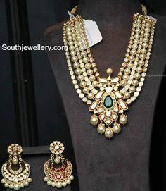 Reversible Layered Polki Ruby Pearls Mala - online diamond jewellery store, women and jewelry, jewelry box *ad Indian Jewelry Sets, Indian Wedding Jewelry, Bridal Jewellery, India Jewelry, Antique Jewellery Designs, Gold Jewellery Design, Diamond Jewellery, Jewellery Earrings, Stylish Jewelry