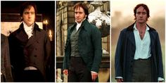 """""""If you see closely Darcy costumes in the course of the film change quite radically. In the early scenes he´s wearing a very buttoned up, very rigid, very stiff style of costume. In the middle stage, he´s wearing the same style but in a softer fabric and a softer cut and, by the end of the film, he´s wearing a much looser cut, an open jacket, a more country style, less uptight, less rigid. His costumes reflect the other changes in his character"""".  (Jacqeline Durrant, costume designer)"""