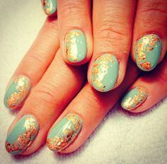 Teal and gold foil