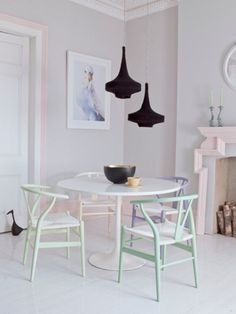 DINING | pastel furniture, black lighting