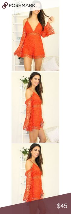Lovers & Friends Romper Orange-Red Romper made of crocheted lace fabric with spaghetti straps. V- neck with butterfly sleeves and a open back detail. Fab romper for day or night with concealed zipper.  Color: Orange Red  Material: 100% Polyester Lining: 100% Polyester  Item Fit / Dimensions: Regular fit  Model is wearing size small anawatboutique Pants Jumpsuits & Rompers