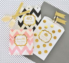 "Metallic Foil Chevron & Dots Personalized Goodie Bags (set of 12) - Birthday. Looking for a stylish way to seal up your yummy favor treats at your Birthday? Our Personalized Metallic Gold & Silver Foil Chevron & Dots Goodie Bags are just the extra sparkle you're looking for. Whether you're filling them with tasty candies or freshly baked goods, these goodie bags will impress! You can lay them out at a candy buffet table for a decorative ""pack your own"" goodie bag. Choose from a variety of…"