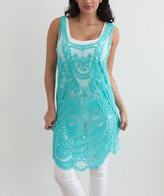 Another great find on #zulily! Blue Embroidered Sleeveless Tunic - Women by Simply Couture #zulilyfinds