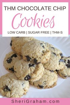 Trim Healthy Mama {Chocolate Chip Cookies} – S – Sheri Graham: Helping you live with intention and purpose! These Chocolate Chip Cookies are the perfect Trim Healthy Mama treat! Enjoy the goodness of a cookie without the added carbs and sugar! Trim Healthy Mama Plan, Trim Healthy Recipes, Thm Recipes, Baking Recipes, Dessert Recipes, Cream Recipes, Sugar Free Cookies, Sugar Free Desserts, Keto Desserts