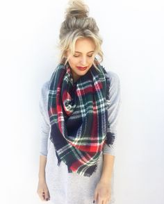 That perfect holiday scarf xoxo Shop now on Effinshop.com! Anything But Clothes, Blanket Scarf, Winter Season, Plaid Scarf, Shop Now, Outfits, Shopping, Collection, Colors