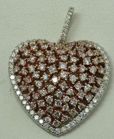 2.76 CARAT PINK & WHITE DIAMOND HEART PENDANT #Pendant