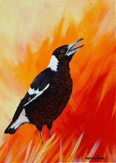 Image result for paintings of magpies Australian Animals, Australian Artists, Pretty Birds, Beautiful Birds, Watercolor Paintings, Oil Paintings, Palette Knife Painting, Bird Prints, Magpie