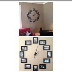 DIY photo frames wall clock! (one picture from each country we visited while living in Europe)