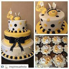 Bee Cakes, Cupcake Cakes, Baby Shower Themes, Baby Shower Decorations, Bolo Fack, Movie Cakes, Bee Party, Happy Party, Mommy To Bee