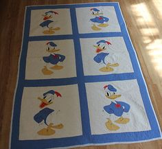 Antique Vintage Disney Donald Duck Applique Baby Crib Quilt | eBay