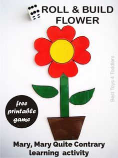 Mary Mary Quite Contrary - Free printable Roll & Build Flower game for toddlers and preschoolers