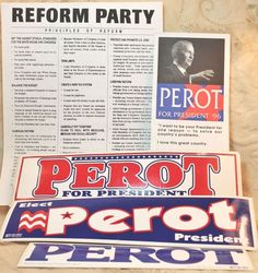 Ross Perot Bumper Sticker Lot Original 96 Presidential Campaign Party Literature