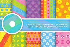 Colorful Candy Digital Paper Pattern Graphics These colorful handmade digital candy papers are a sweet choice for your next creative design projec by VizualStorm