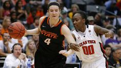 Oklahoma State's Liz Donohoe (4) dribbles beside Texas Tech's Chynna Brown (00) during the Big 12 tournament women's college basketball game between Oklahoma State University and Texas Tech University at American Airlines Arena in Dallas, Saturday, March 9, 2012. Oklahoma State won 59-54.  Photo by Bryan Terry, The Oklahoman