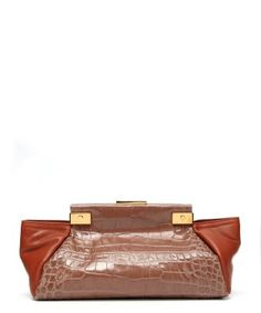 Lanvin : plum leather 'Trilogy' croc-embossed trapeze clutch