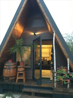 1 _ The World's Largest Collection of Woodworking Plans! 2 _ Start building amazing sheds the easier way. with a collection of shed plans! Tiny Cabins, Tiny House Cabin, Cabins And Cottages, Tiny House Living, A Frame Cabin, A Frame House, Building A Shed, Building Plans, Shed Plans