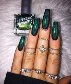 🧙🏼♀️💚🌲🐍 No Rest For The Wicked from via Goth Nails, Aycrlic Nails, Swag Nails, Halo Nails, Holographic Nails Acrylic, Best Acrylic Nails, Gorgeous Nails, Pretty Nails, Fire Nails