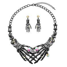 93f089093b72 Skeleton Choker Statement Necklace Earrings Jewelry Set