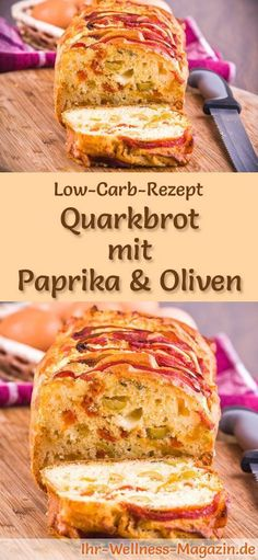 Low carb curd bread with peppers and olives - healthy recipe for baking bread-Low Carb Quarkbrot mit Paprika und Oliven – gesundes Rezept zum Brot backen Bake hearty quark bread with peppers and olives: … - Low Carb Bread, Low Carb Keto, Low Carb Recipes, Baking Recipes, Healthy Recipes, Bread Recipes, Desayuno Paleo, Law Carb, Olive Recipes